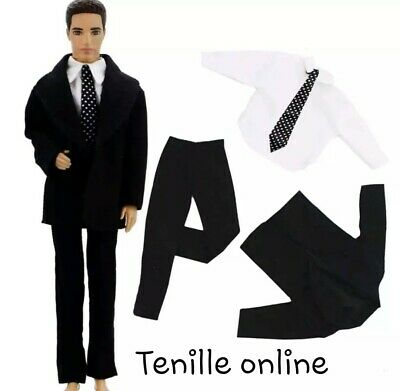 ken doll barbie clothes outfit uniform suit tie black wedding
