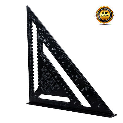 12'' 300mm Speed Triangle Inch Miter Black Square Protractor Metric Rafter Tool