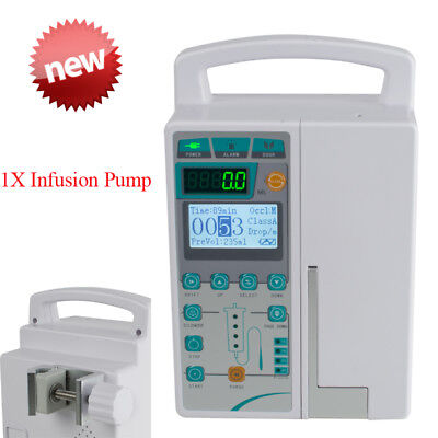 LCD Human/Vet IV Fluid Infusion Pump System Machine Audible Visual Alarm Clinic