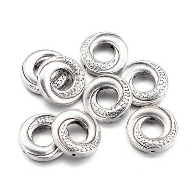 100pcs Tibetan Alloy Donut Bead Frames Carved Silver Spacers Nickel Free 15x4mm