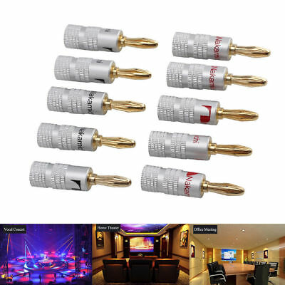 10 Pcs Banana plugs Gold Plated Cable Wire Connector 4mm for Nakamichi Speaker