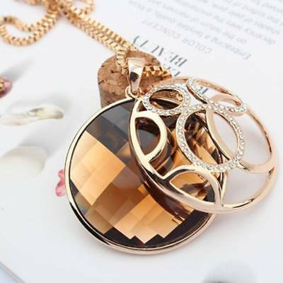 Women Jewelry Gold Plated Round Pendant Vintage Long Sweater Chain Necklace