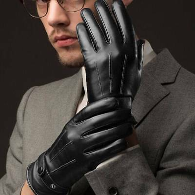 Men Warm Gloves Black Winter Leather Motorcycle Full Finger Touch Screen m