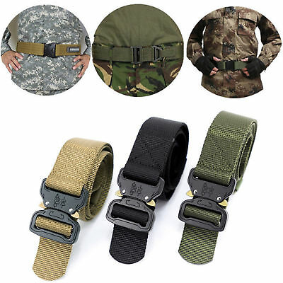 New Military Men's Outdoor Training Web Belt Canvas Buckle Tactical Functional
