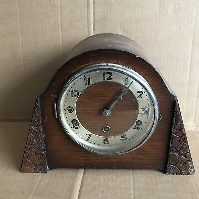 Vintage Oak Mantle Clock with Unusual Carved Edging - 15cm Chiming Movement