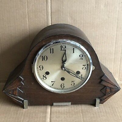 Vintage Wooden Mantle Clock with Chime Movement
