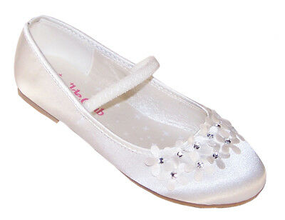 Ivory Girls Kids Satin Flower Girl Bridesmaid Ballerina Shoes Dress Up Seconds