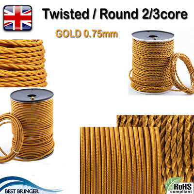 Vintage Round/Twisted Braided Silk Fabric Cable Light Flex 2/3 core Gold 0.75mm
