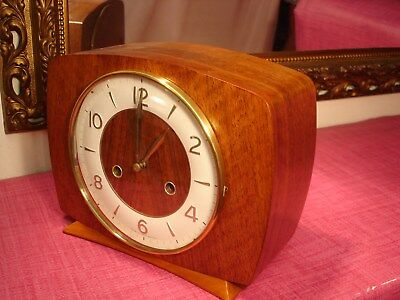 Superb Vintage, English,Mahogany, striking Mantel Clock. lovely condition.