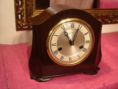 Delightful Vintage English Bakelite Cased Striking Mantel clock, Mint Condition.