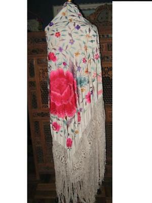 Lovely Large Heavily Embroidered Antique Canton Piano Shawl Bright Fringed
