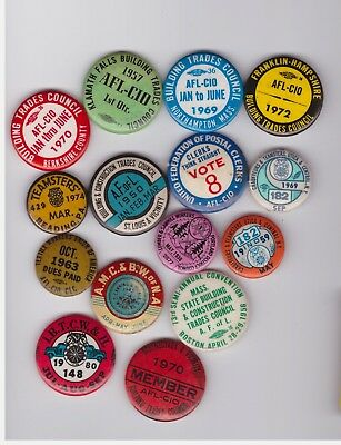15 misc labor union pins all missing the pin back
