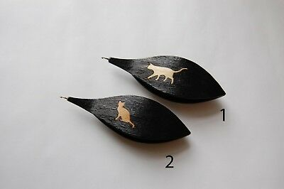 Wooden Tatting Shuttle With Built-in Hook Hand Made in Black Wood With Cat Inlay