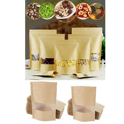 100x Resealable Kraft Paper Bags w/ Frosted Matte Clear Window DIY Gift Bag