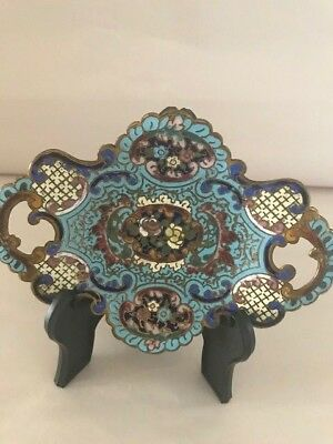 Vintage Miniature  Bronze Hand Painted Small Shaped Plate on Feet