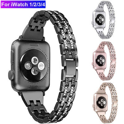 Bling Stainless Steel Watch Band Strap For Apple Watch Series 4 3 2 1 38 42 44mm