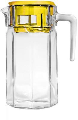 Circleware Lodge Glass Beverage Drink Pitcher with Yellow Plastic Lid, 50...