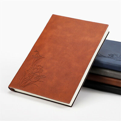 A5 Flower PU Leather Cover Vintage Journal Notebook Lined Paper Diary Planner