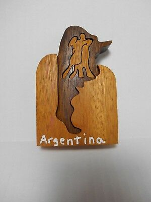 Argentina Country Outline and Tango Dancers Wooden Puzzle