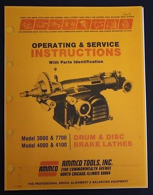 Ammco Brake Lathe Operation, Service & Parts Manual Models