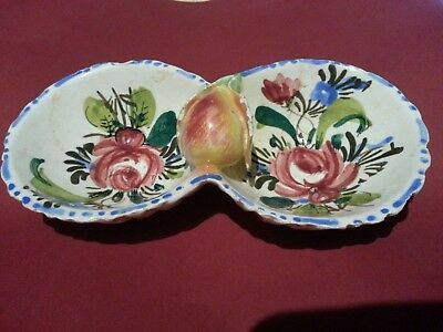Vintage Relish Dish Double Bowl Jam Jelly Hand Painted 7/3000 Fuit Pear Italy