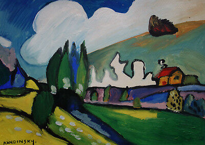 Abstract painting Village signed, Wassily Kandinsky, original tempera w COA&DOCS