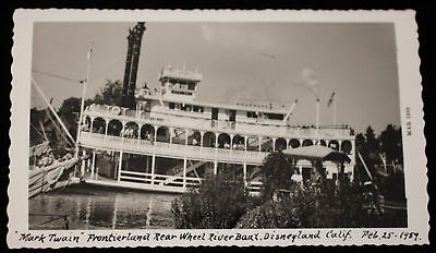 Disneyland Feb 1959 Orig bw Photo Mark Twain Riverboat Straw Hatters Bandstand