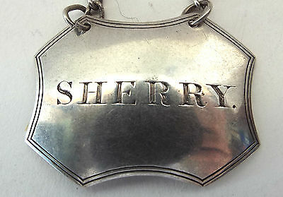 Sherry Decanter Label Solid Sterling Silver Rare Shape Francis Clark 1827