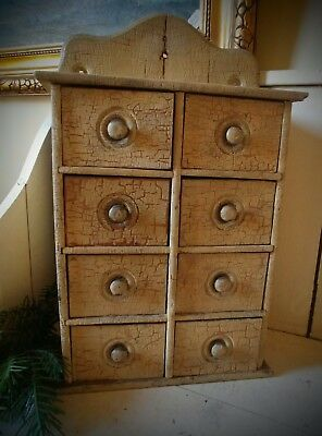 19th Century Wooden Spice Chest In Old Buttercream Paint