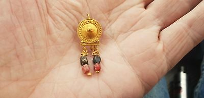 stunning Roman  Gold Earring with Bead Drops 2nd century AD