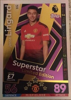 Match Attax 2018//19 Jesse Lingard Superstar Limited Edition LE10 Como Nuevo