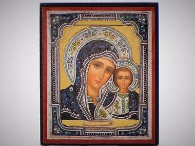 Icon orthodox blessed Virgin Christ 6x7 cm Sofrino Russia religion christianity