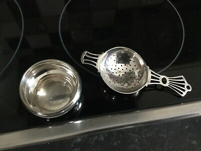 Art Deco Style Tea Strainer And Drip Cup E.p.n.s. Retro Very Good Used Condition