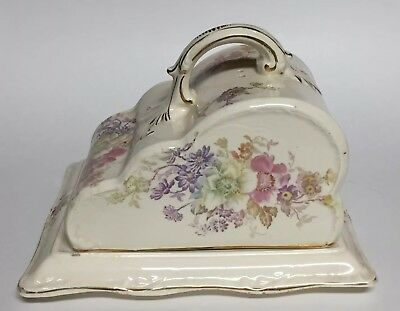 Antique Franz Anton Mehlem Bonn Germany Covered Cheese Dish w/ Steam Vents 1884