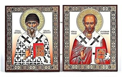 St.Nicholas and St.Spyridon the wonderworkers Russian Orthodox icon Diptych