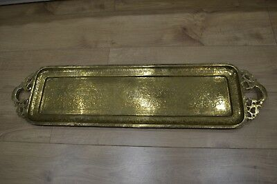 3 Foot Long Huge Antique Chinese Engraved Brass Tray Display Plaque Rare