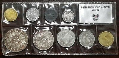 1966 Austria Proof 9 Coin Set Vienna Sealed Silver Proof Low Mintage of 1,765