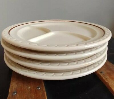 Syracuse China Restaurant Econo Rim Divided Dinner Plate - Lot of 4