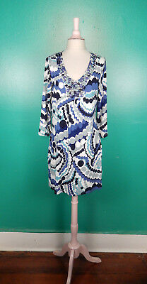Boden Beads Pearl Print Blue White Knit Embellished Neck Mini Dress Us 10 Nwot