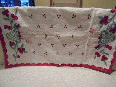 Vintage Mid-century 1950s Kitchen Dish Towel Stylized Strawberries Never Used