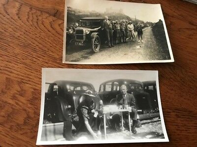 Old B And W Photo  X 2  Cars  With Number Plates  1931 And 1939