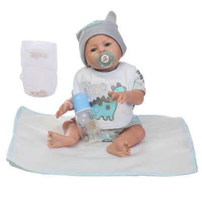 18inch Simulation Vinyl Reborn Boy Doll in Bibs Jumpsuit with Accs Playmate