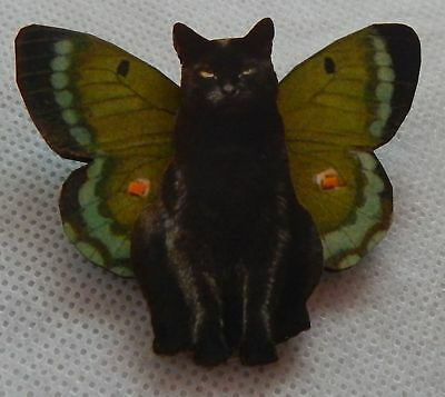Black Cat Fairy Brooch or Scarf Pin Wood Lapel Fashion NEW Butterfly Wings