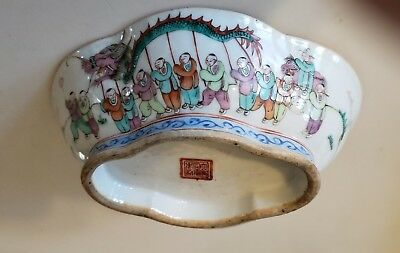 Chinese Porcelain Bowl Antique Signed Tongzhi Period With Fine Dragon Decoration