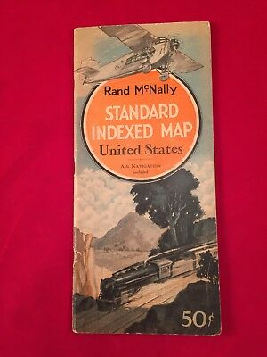 1929 Rand McNally Standard Indexed Map US Air Navigation Included COCA COLA AD