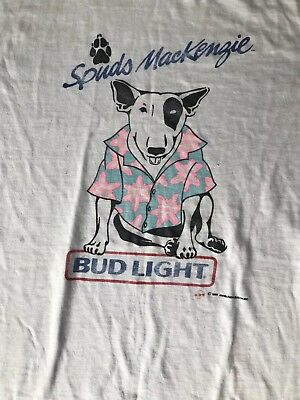 vintage 80s SPUDS MACKENZIE BUD LIGHT DOG WEARING SHIRT BEER PINK t-shirt L