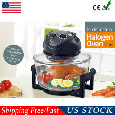 12 Quart 1200W Halogen Countertop Tabletop Glass Air Fry Oven Low Fat Cooking