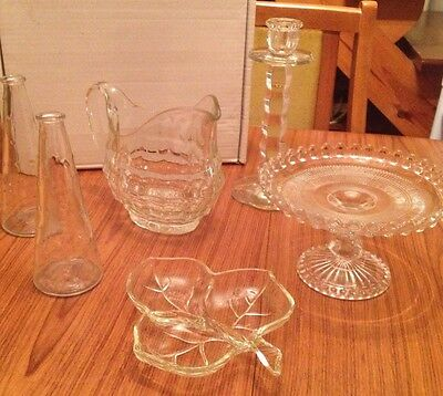 Job Lot Of Vintage Clear Glass Dishes/Jugs/Vases/Cake Stand/Retro Wedding Decor
