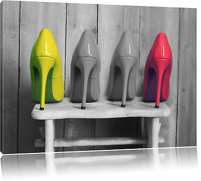 High Heels on Stool Black/White Canvas Picture Wall Deco Art Print