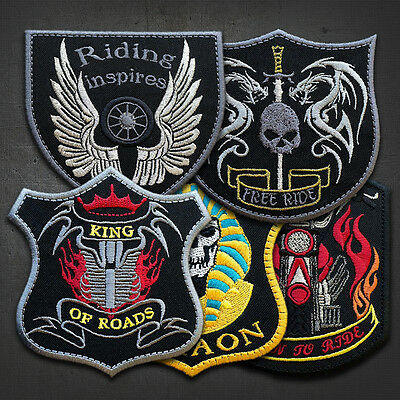 """DRAGONS, MOTORBIKE -  Embroidered  IRON ON Biker Patches LOT OF 5"""""""